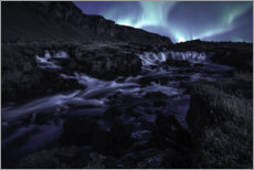 Premium poster  Northern lights at the waterfall, Iceland - Christian Möhrle