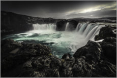 Wood print  Godafoss waterfall in Iceland - Christian Möhrle