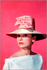 Canvas print  Audrey Hepburn - pink - Celebrity Collection