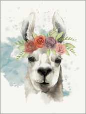 Premium poster  Lama with flower crown I - Grace Popp