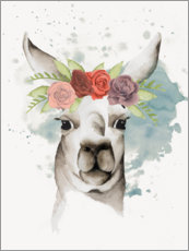 Wood print  Lama with flower crown II - Grace Popp