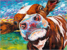 Wood print  Curious Cow II - Carolee Vitaletti