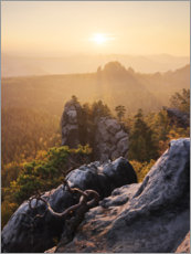 Premium poster Evening in the Elbe Sandstone Mountains