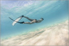 Premium poster Woman dives in pastel blue water