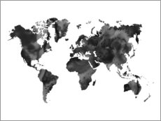 Canvas print  World Map in Black - Nouveau Prints