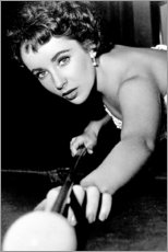 Premium poster  Elizabeth Taylor playing Billiards - Celebrity Collection