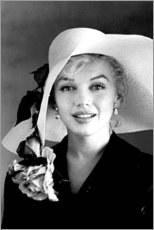 Canvas print  Marilyn Monroe with White Hat - Celebrity Collection