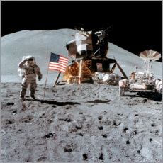 Premium poster  James Irwin gives a salute on the Moon