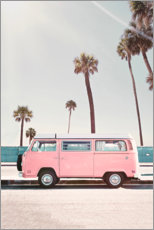 Wood print  Pink Bus under palm trees - Sisi And Seb