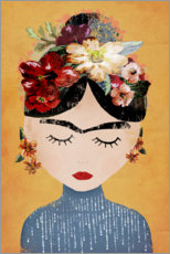Canvas print  Frida with flower wreath - treechild