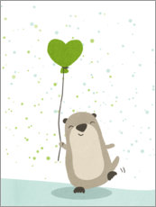 Aluminium print  Otter with balloon - Julia Reyelt