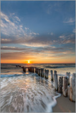 Canvas print  Sunset at the groyne - Heiko Mundel