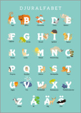 Aluminium print  Animal alphabet (Swedish) - Kidz Collection