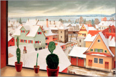 Acrylic print  Winter landscape - view from the studio - Rudolf Wacker