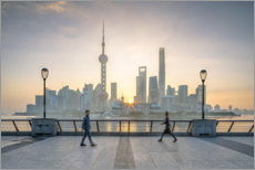 Premium poster Waterfront of Shanghai in front of the Pudong skyline