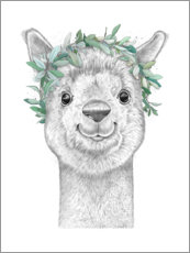 Foam board print  Alpaca with wreath - Nikita Korenkov