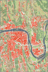 Premium poster  City map of Prague, colorful - PlanosUrbanos