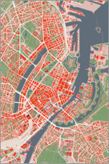 Premium poster  City map of Copenhagen, colorful - PlanosUrbanos