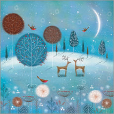 Premium poster  Winter night in the forest - Jo Parry