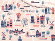 Canvas print  Map of Amsterdam - Jenny Wren