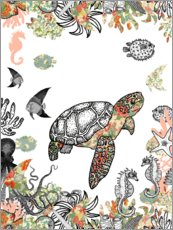Foam board print  Sea turtle in the coral reef - MiaMia