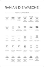 Foam board print  Washing and Care Symbols (German) - Typobox