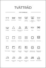 Foam board print  Washing and Care Symbols (Swedish) - Typobox