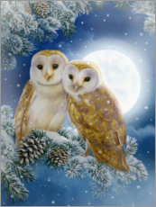 Acrylic print  Snow owl couple - Lisa Alderson