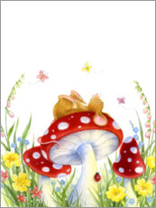 Premium poster  Mouse on a fly agaric - Lisa Alderson