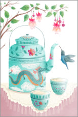 Premium poster  Hummingbird at the tea set - Pimlada Phuapradit