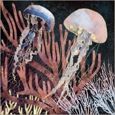 Premium poster  Metallic coral with Jellyfish - SpaceFrog Designs