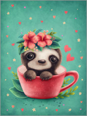 Premium poster  Sweet sloth in a cup - Elena Schweitzer