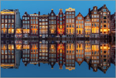 Acrylic print  Amsterdam row of houses reflected in the water - George Pachantouris