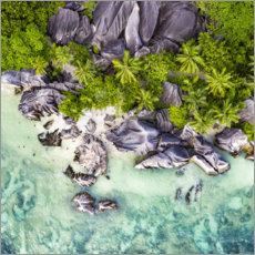 Canvas print  Anse Source d'Argent from above - Jan Christopher Becke