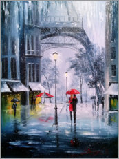 Wood print  The first snow in Paris - Olha Darchuk