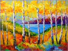 Acrylic print  Bright birches by the river - Olha Darchuk