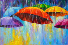 Acrylic print  Dancing umbrellas in the rain - Olha Darchuk
