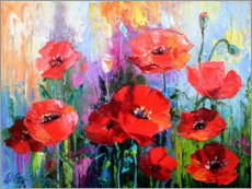 Acrylic print  Poppies in the field - Olha Darchuk