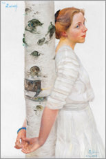 Aluminium print  Lisbeth at the birch trunk - Carl Larsson