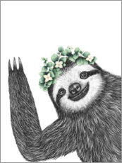 Canvas print  Sloth with eucalyptus crown - Valeriya Korenkova