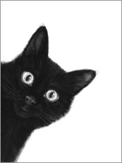 Wood print  Black Cat - Valeriya Korenkova