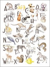 Wood print  Animal alphabet (English) - Wandering Laur