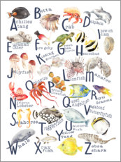 Aluminium print  Sea animals from A to Z - Wandering Laur