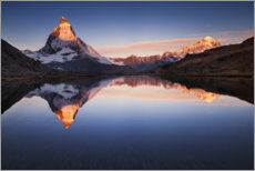 Wood print  Matterhorn with reflection in the mountain lake - The Wandering Soul