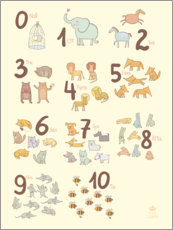 Wall sticker  Numbered animals (Swedish) - Petit Griffin