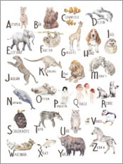 Foam board print  Animal alphabet (German) - Wandering Laur