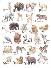 Aluminium print  Animal alphabet (French) - Wandering Laur