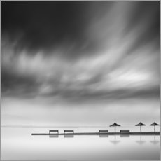 Premium poster  Benches and umbrellas - George Digalakis