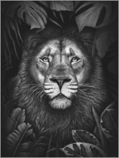 Premium poster Lion in tropical leaves
