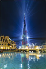 Canvas print  Burj Khalifa illuminated at night, Dubai - Fraser Hall